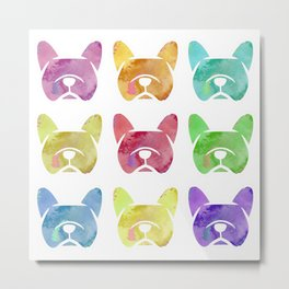 Watercolor French Bulldogs - Frenchie dogs - #frenchbulldogs Metal Print