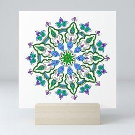 Mandala - cool colours Mini Art Print