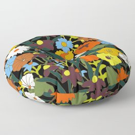 60's Swamp Floral in Midnight Black Floor Pillow