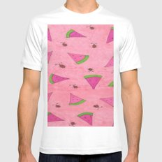 Watermelons and Lady Bugs White MEDIUM Mens Fitted Tee
