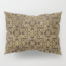 Chinese Pattern Double Happiness Symbol Gold on Wood Pillow Sham