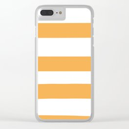 VA Bright Marigold - Spring Squash - Pure Joy - Just Ducky Hand Drawn Fat Horizontal Lines on White Clear iPhone Case