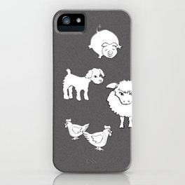 The Little Farm Animals, white on grey iPhone Case
