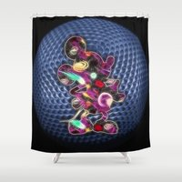 spaceship Shower Curtains featuring Spaceship Mickey by DisPrints