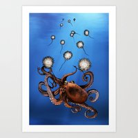 octopus Art Prints featuring Octopus by Anna Shell