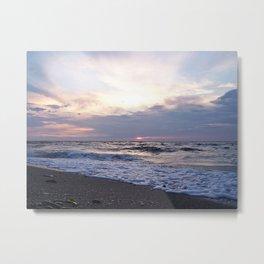 Beach sea-foam sunset Metal Print