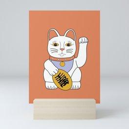 Maneki Neko - lucky cat - orange Mini Art Print