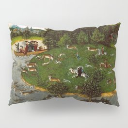 """Lucas Cranach the Elder """"A Stag Hunt with the Elector Friedrich the Wise"""" Pillow Sham"""