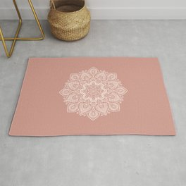 Flower Mandala in Peach and Powder Pink Rug