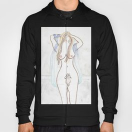SEXY TRANS NUDE transgender art design full frontal nudity see-through sheer lingerie penis cock dick breasts mtf naked male to female erotic Hoody