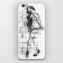 Lady and Geomertry Wall. iPhone Skin