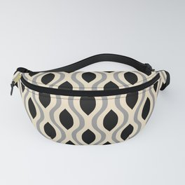 Retro Ogee Pattern 446 Black Beige and Gray Fanny Pack