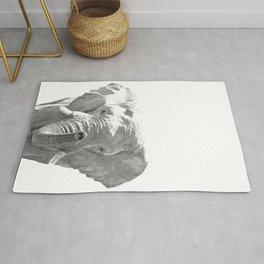 Black and white elephant illustration Rug
