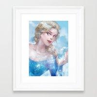 frozen elsa Framed Art Prints featuring Frozen Elsa by x3uu
