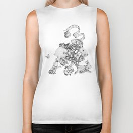 On the Run (Black and White Drawing) Biker Tank