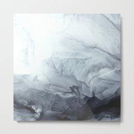 Gray Black Gradient Flowing Abstract Painting Metal Print
