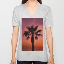 Pink Sunset Palm Tree Unisex V-Neck