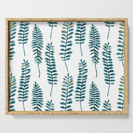 Watercolour Fern Pattern | Teal and Gold Serving Tray