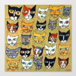 25 Cat Heads Canvas Print