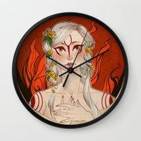okami Wall Clocks featuring Okami: Amaterasu by Laurie 鳳玲