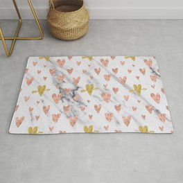 Rose Gold Hearts Marble Pattern Rug
