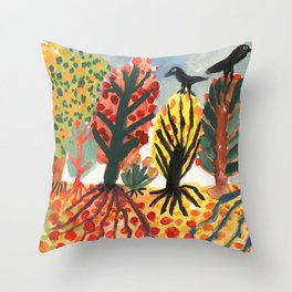 Autumn trees and black birds Throw Pillow