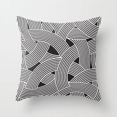 Modern Scandinavian B&W Black and White Curve Graphic Memphis Milan Inspired Throw Pillow