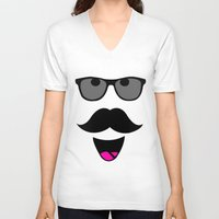 mustache V-neck T-shirts featuring Mustache by siti fadillah