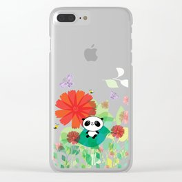 panda and flowers Clear iPhone Case
