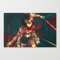 mikasa Canvas Prints featuring Worth a Hundred Soldiers by Alice X. Zhang