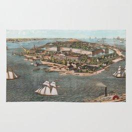 Vintage Pictorial Map of Fort Monroe Virginia Rug