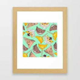 """Oro?"" Ice Creams Turquoise Framed Art Print"