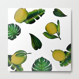 Tropical Lemons Metal Print