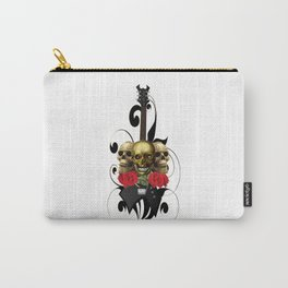 Red Rose Skull Rock and Roll Carry-All Pouch