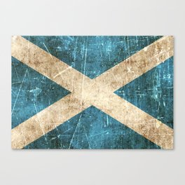 Vintage Aged and Scratched Scottish Flag Canvas Print