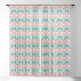 Pink Peach Yukka And Green ZigZag Pattern Sheer Curtain