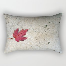 Red Leaf on Concrete Rectangular Pillow