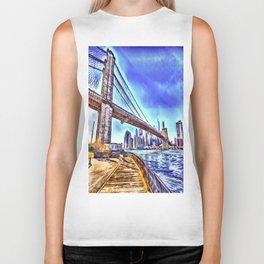 Brooklyn Bridge New York Art Biker Tank