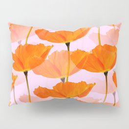Orange Poppies On A Pink Background #decor #society6 #buyart Pillow Sham