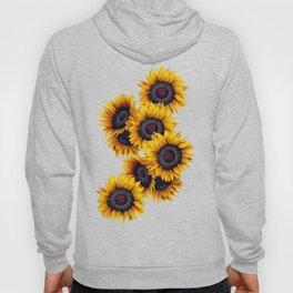 Sunflowers yellow white and dark grey pattern Hoody