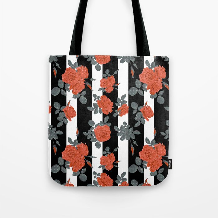 Orange roses on a striped background. Tote Bag
