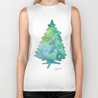 christmas tree Biker Tanks featuring Christmas Tree by Elena Sandovici