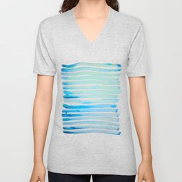 New Year Blue Water Lines Unisex V-Neck