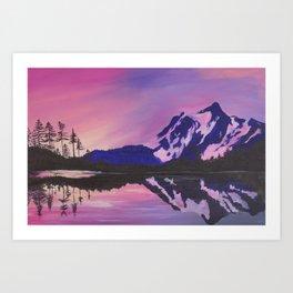 Mount Shuksan in Pink Art Print
