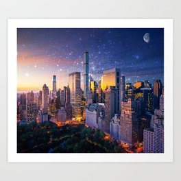 New York City - Fantasy Sunset Art Print