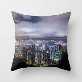 Beautiful Hong Kong city dark night view Throw Pillow