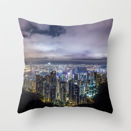 Beautiful Hong Kong city dark night view Throw Pillow