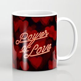 Inspirational love quotes retro neon sign, Valentine's red black hearts bokeh pattern Coffee Mug