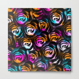 black rose texture abstract with painting abstract in orange pink blue Metal Print