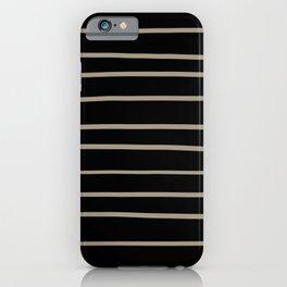Pantone Twill Brown 16-1108 Hand Drawn Horizontal Lines on Black iPhone Case